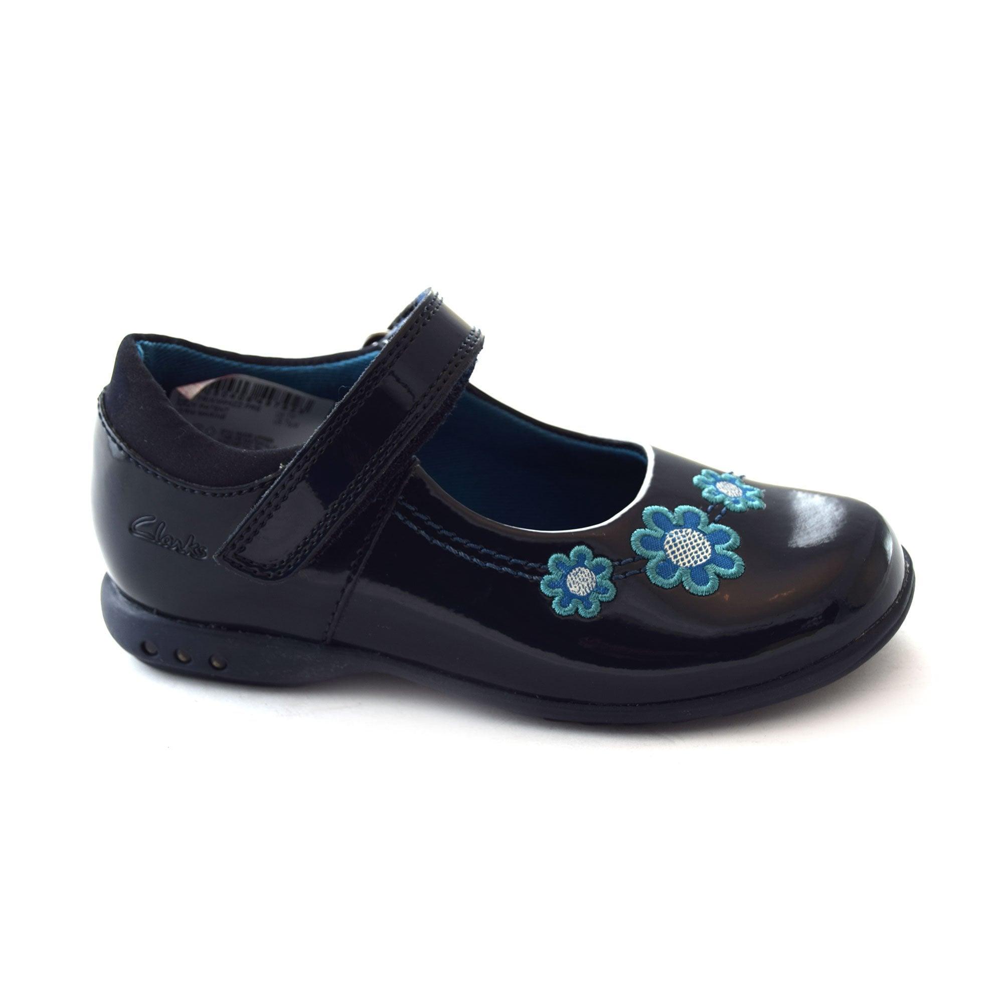 Clarks Girls Lilfolk Bel Inf Black Leather Smart School Shoes