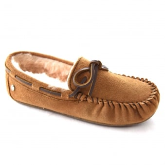 AMITY LADIES CLASSIC SHEEPSKIN LINED MOCCASIN SLIPPER