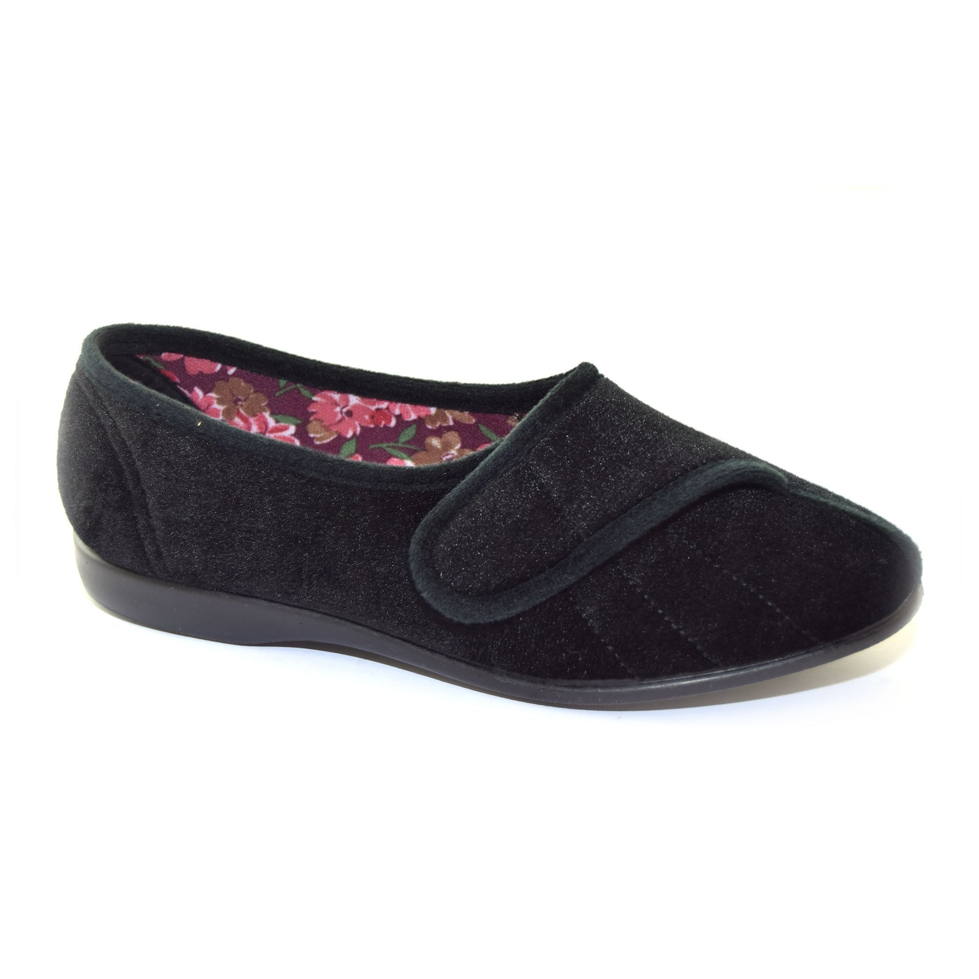 GBS Audrey Slipper Black Classic Ladies Slippers Textile